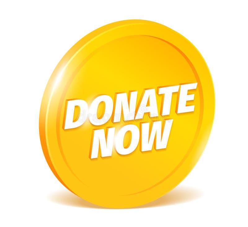 Donera nu Skinande guld- mynt Donationordbokstäver på en apelsin Donera den realistiska vektorn för symbol 3d color dr?kten f?r l royaltyfri illustrationer