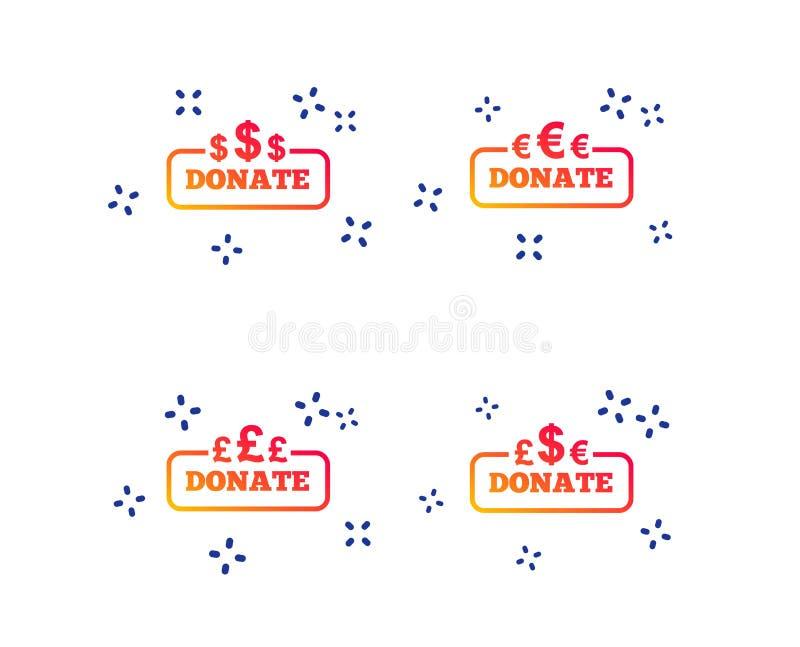 Donera pengartecken Dollar, euro och pund vektor royaltyfri illustrationer