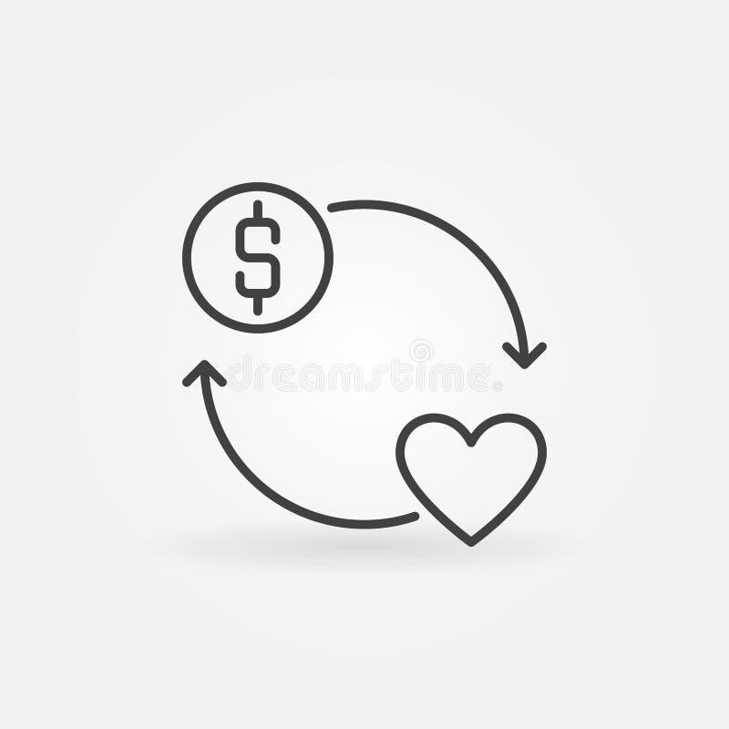 Donera symbolen för översikten för begreppet för pengarvektorrundan vektor illustrationer