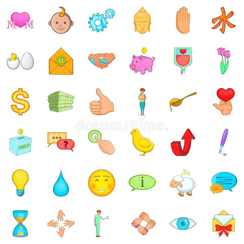 Donera symboler ställer in, tecknad filmstil vektor illustrationer