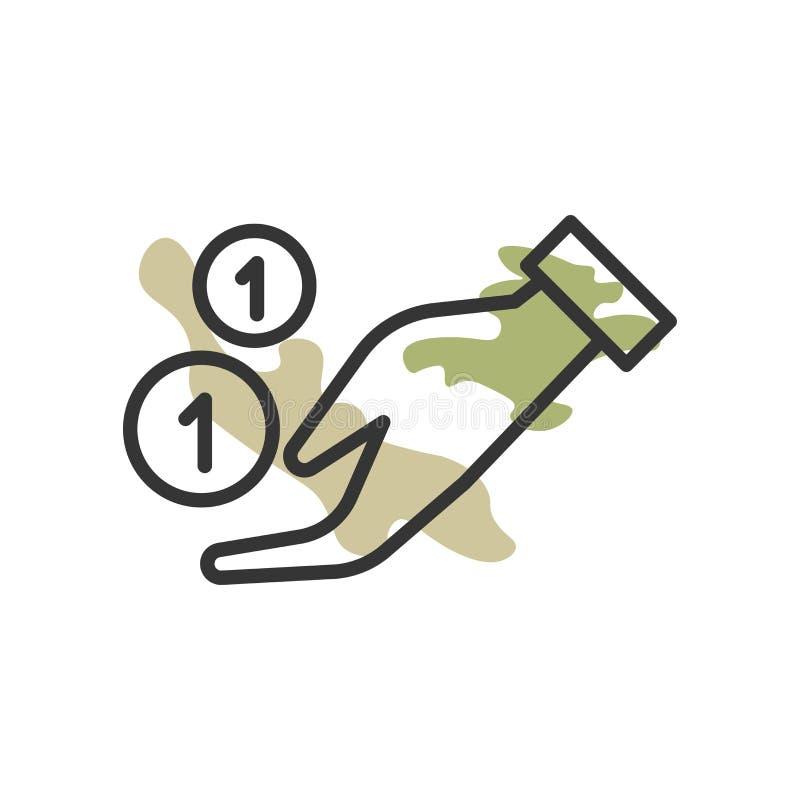 Donera symbolsvektortecknet, och symbolet som isoleras på vit bakgrund, donerar logobegrepp royaltyfri illustrationer