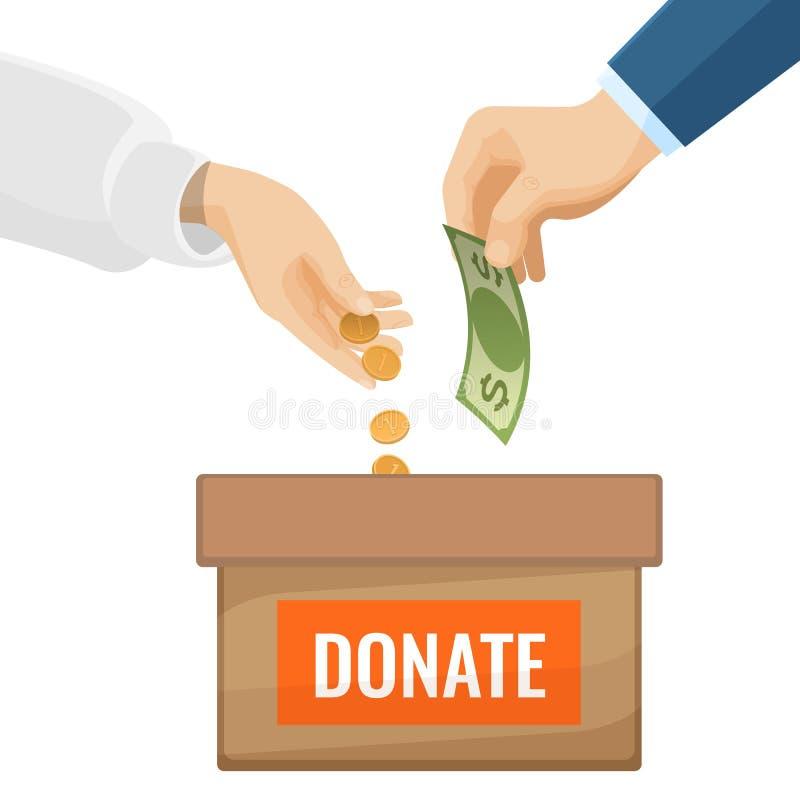 Donera tecknet på kartongen med pengar för välgörenhet royaltyfri illustrationer