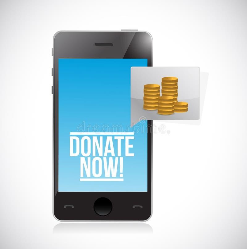 Donera till välgörenhet genom att använda smartphonebegreppsillustrationen vektor illustrationer