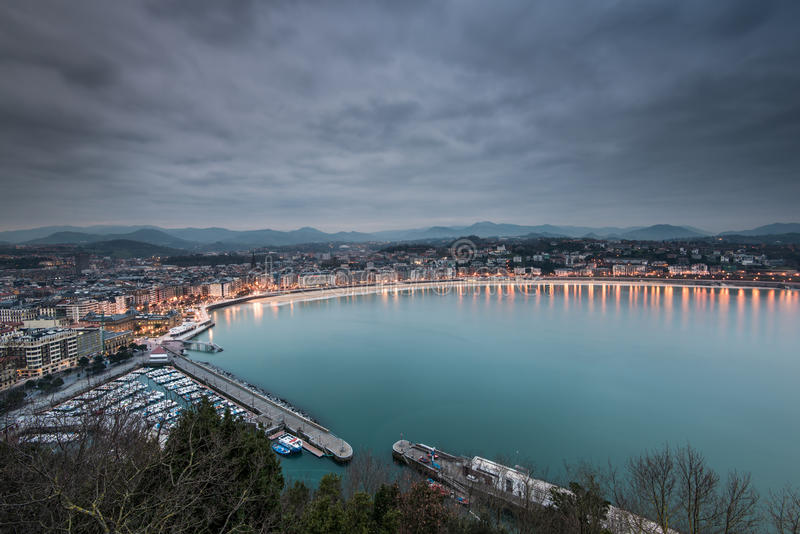 Donestia圣塞瓦斯蒂安,西班牙鸟瞰图  免版税图库摄影