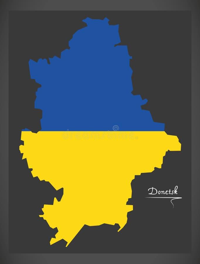 Donetsk map of Ukraine with Ukrainian national flag illustration. Donetsk map of Ukraine with Ukrainian national flag stock illustration