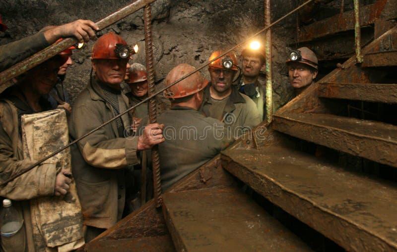 DONETSK, UCRÂNIA - 26 de setembro de 2007: Mineiros fotografia de stock