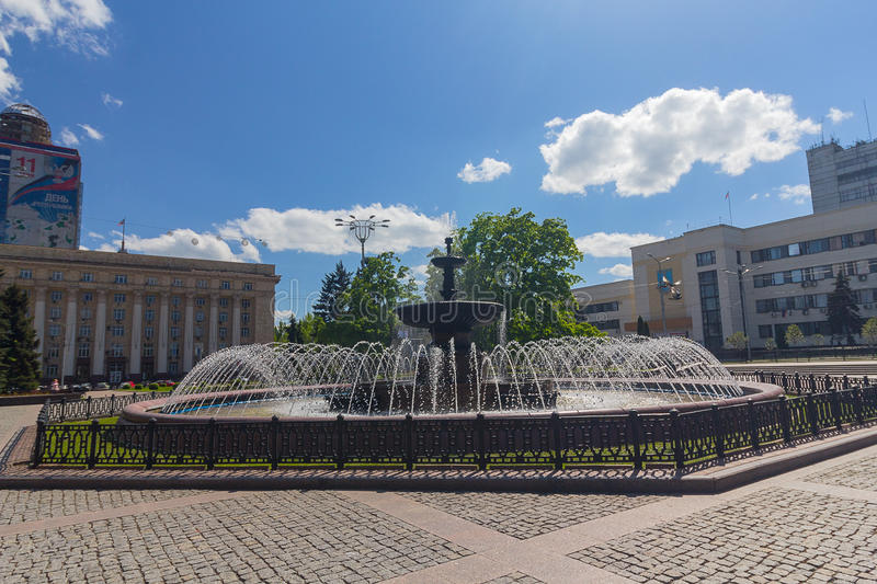 Donetsk, Ukraine - May 17, 2017: Fountain in the central square. Of the city royalty free stock photography