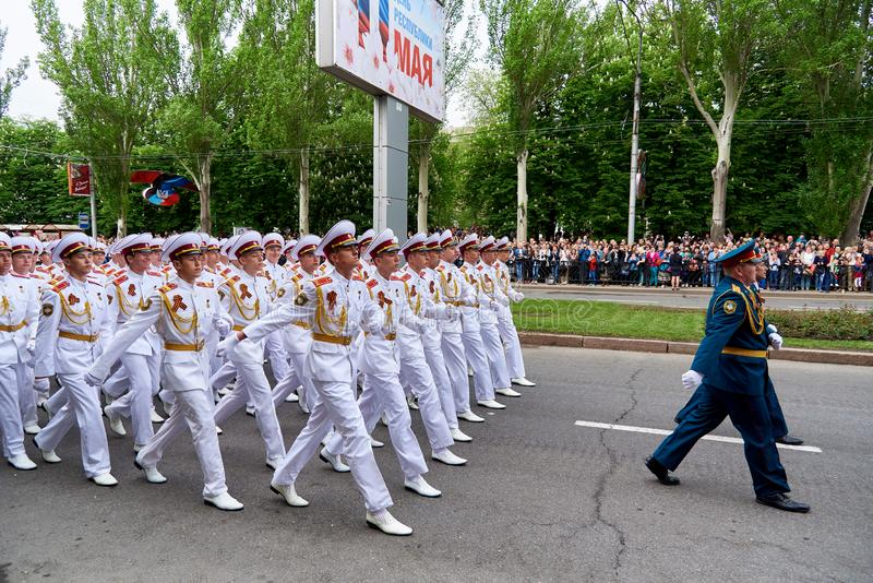 Donetsk.Ukraine - May 9, 2018.Parade in honor of victory in World War II stock photos