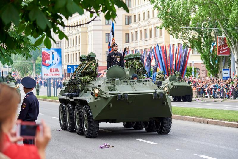 Donetsk.Ukraine - May 9, 2018.Parade in honor of victory in World War II royalty free stock image
