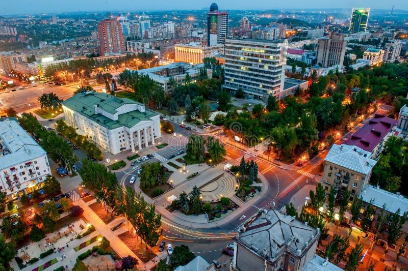 DONETSK, UKRAINE - Spt 2, 2013: panoramic view of Donetsk Pushkin boulevard from above stock image