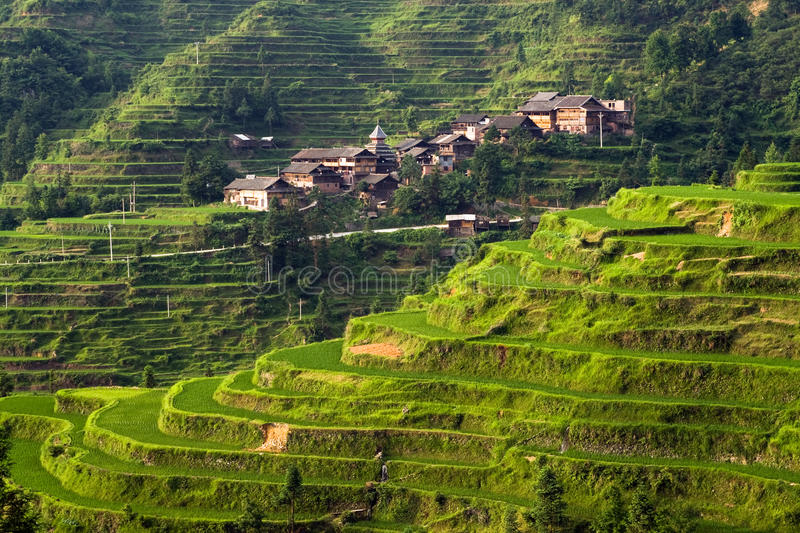 Chinese Village on the rice terrace at sunset royalty free stock photo
