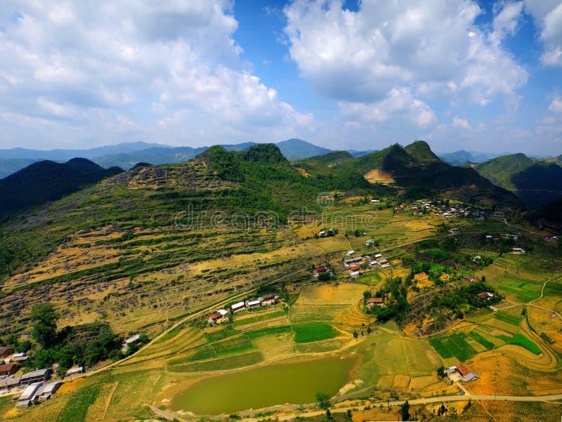 Van Ha giang Vietnam. Mountains and paddies near Van in Ha Giang stock image
