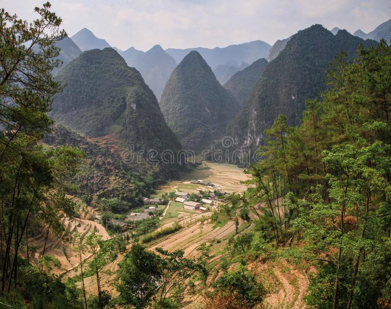 The majestic karst mountains around Van, Ha Giang Province, Vietnam. Van is a rural district of Ha Giang province in the Northeast region of Vietnam. As of 2003 royalty free stock image
