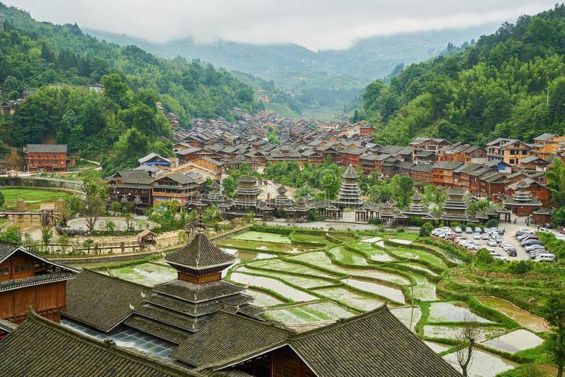 Village, Guizhou, China. Chinese Village Zhaoxing with the rice terrace from top of the hill, Province of Guizhou, China royalty free stock photos