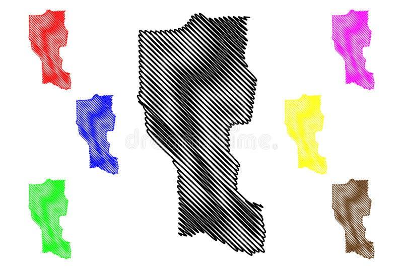 Donga-Abteilungs-Abteilungen von Benin, Republik Benin, Dahomey Karten-Vektorillustration, Gekritzelskizze Donga-Karte lizenzfreie abbildung