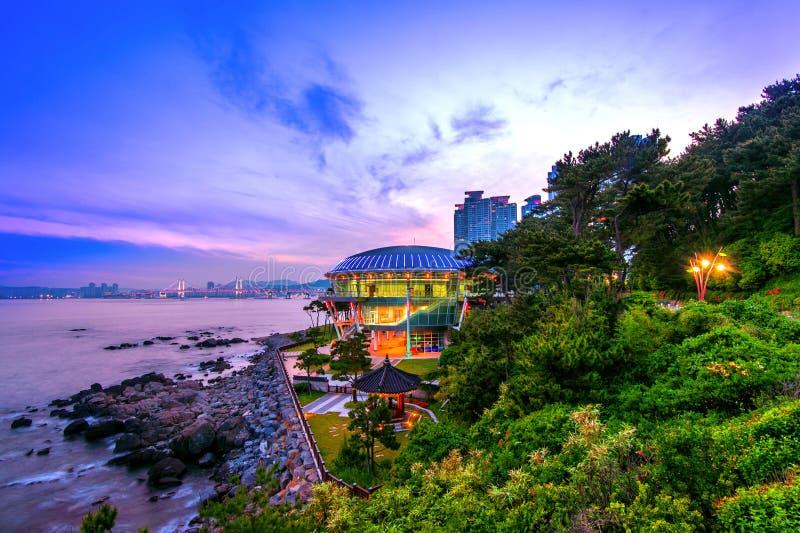 Dongbaek island with Nurimaru APEC House and Gwangan bridge at s. Unset in Busan,South Korea stock images