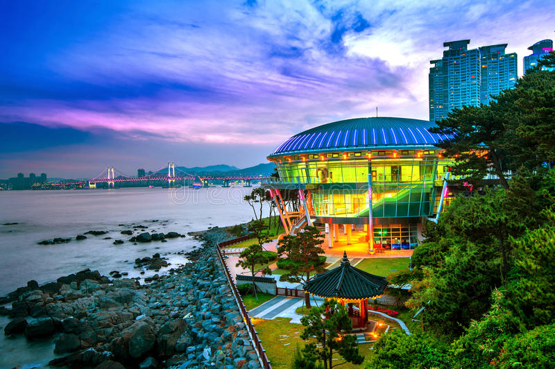 Dongbaek island with Nurimaru APEC House and Gwangan bridge at s stock photos