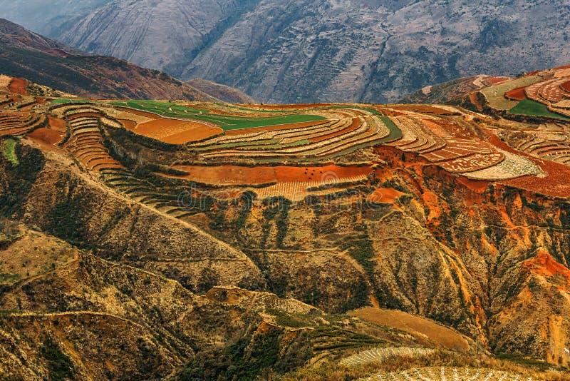 Dongchuan czerwieni ziemia w Yunnan obrazy stock