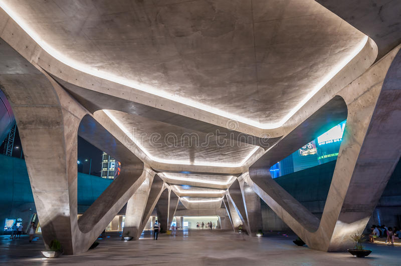 Dongdaemun Design Plaza. The new Dongdaemun Design Plaza in Seoul, designed by the famous architect, Zaha Hadid stock images