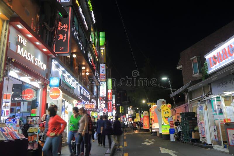Dongdaemun shopping street Seoul South Korea. People visit Dongdaemun shopping district in Seoul South Korea royalty free stock photos