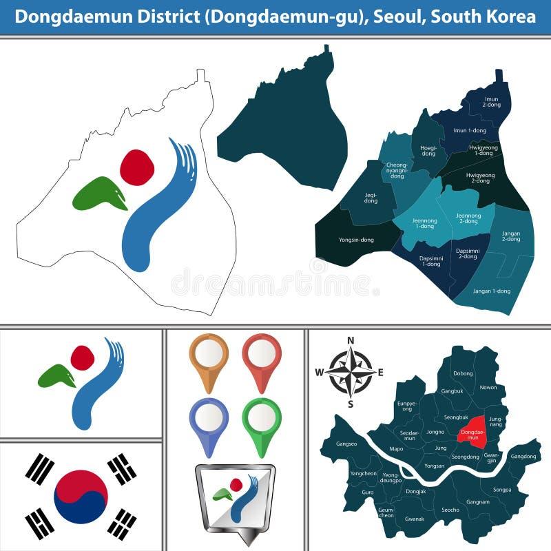 Dongdaemundistrict, de Stad van Seoel, Zuid-Korea stock illustratie