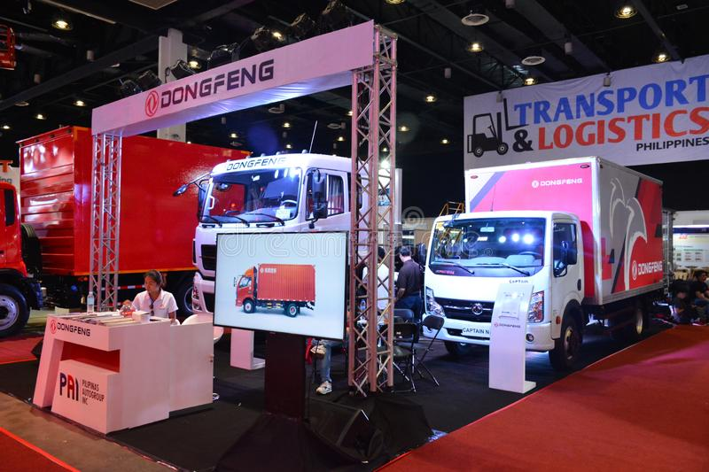 Dongfeng truck exhibit booth. PASAY, PH - AUG. 17: Dongfeng truck on August 17, 2018 at Transport and Logistics in World Trade Center Metro Manila, Pasay royalty free stock images