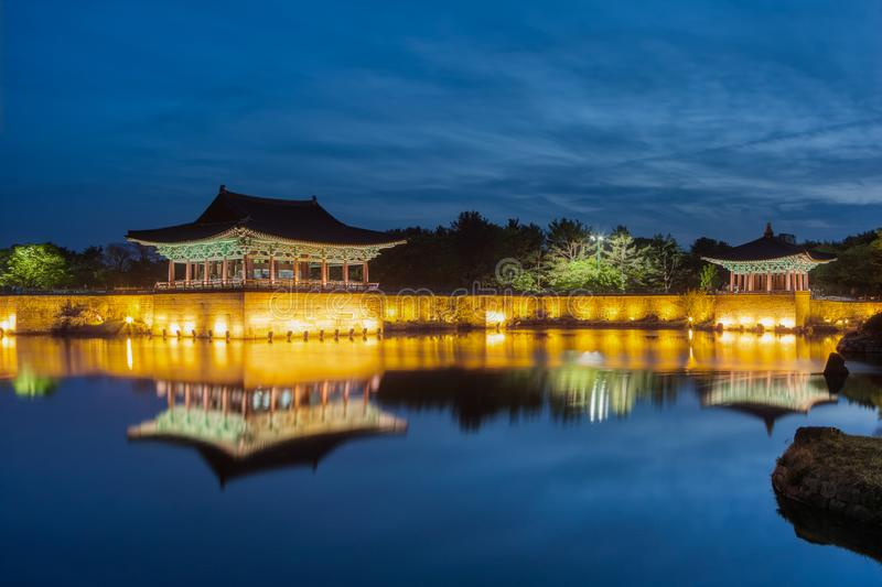 Donggung Palace and Wolji Pond. Also known as Anapji in Gyeongju National Park, South Korea royalty free stock photos