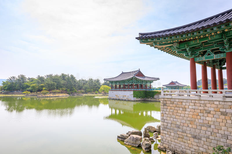 Donggung Palace and Wolji Pond in Gyeongju, South K. Jun 22, 2017 Donggung Palace and Wolji Pond in Gyeongju, South Korea - famous tourist destination royalty free stock images