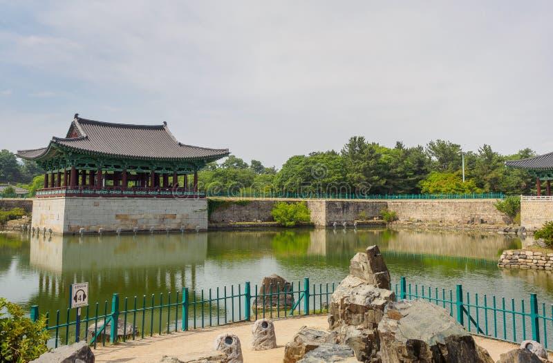 Donggung Palace and Wolji Pond in Gyeongju. South Korea royalty free stock image