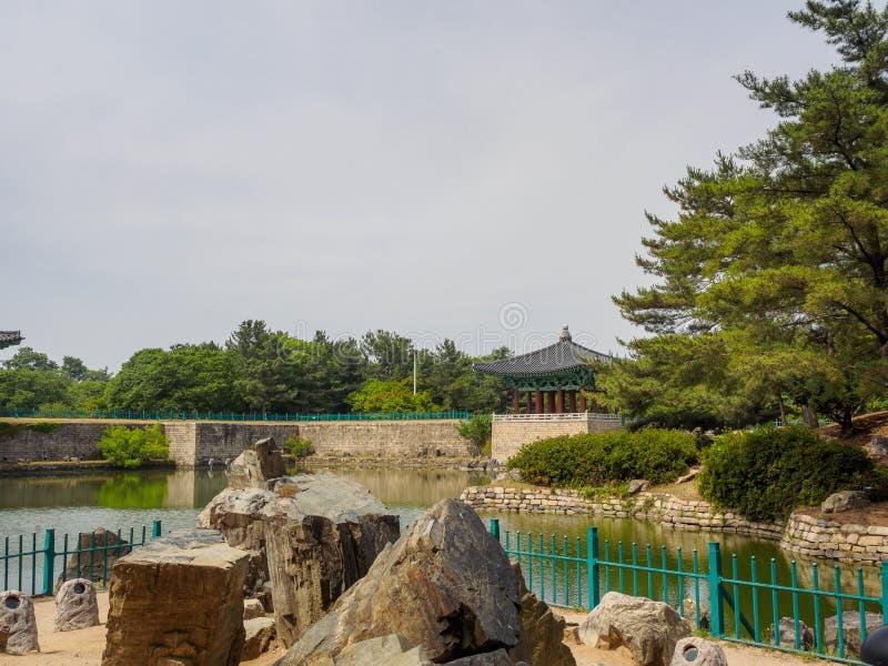 Donggung Palace and Wolji Pond in Gyeongju. South Korea royalty free stock photo