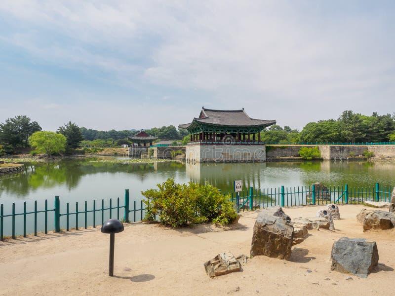 Donggung Palace and Wolji Pond in Gyeongju. South Korea stock photo