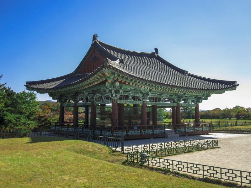 Donggung Palace and Wolji Pond in Gyeongju, South Korea. View of the Emperor's Donggung Palace and Wolji Pond in Gyeongju, South Korea stock photo