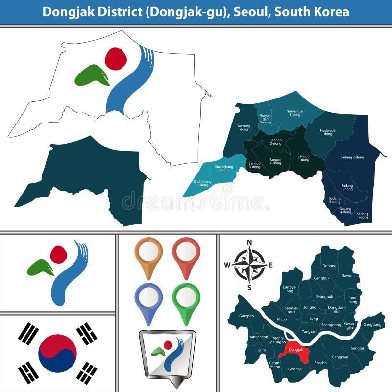 Dongjakdistrict, de Stad van Seoel, Zuid-Korea stock illustratie