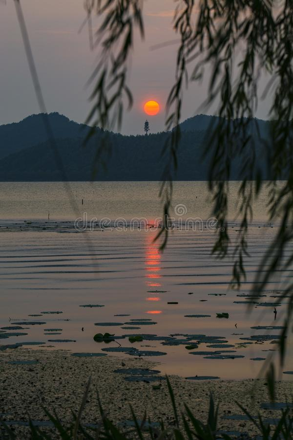 Dongqian Lake in the sunset stock photography