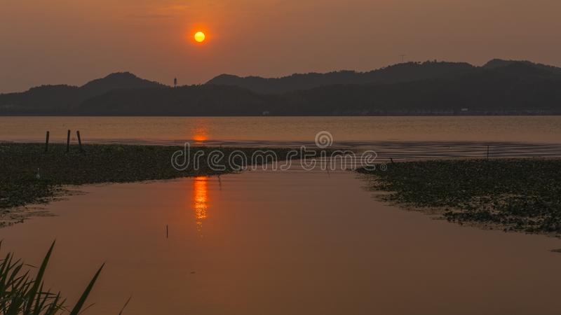 Dongqian Lake in the sunset royalty free stock photo