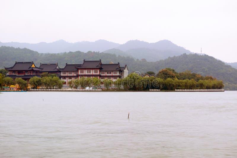Dongqian stad för sjö, Ningbo, Kina arkivbilder