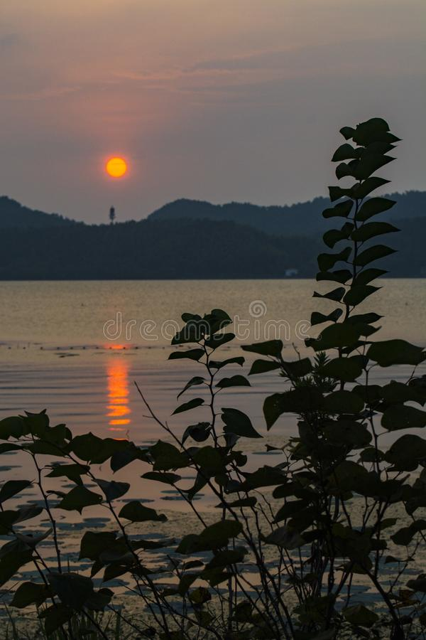 Dongqianmeer in de zonsondergang royalty-vrije stock foto