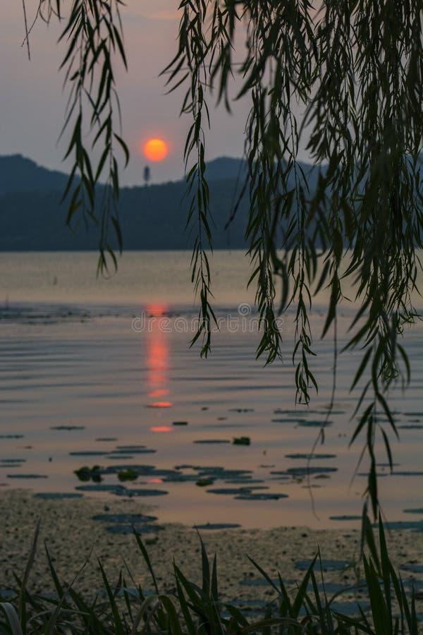 Dongqianmeer in de zonsondergang stock afbeeldingen