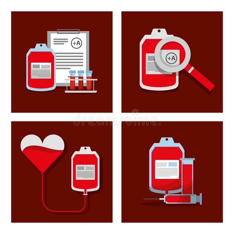 Doni gli oggetti medici dei rifornimenti dell'attrezzatura del sangue messi illustrazione vettoriale