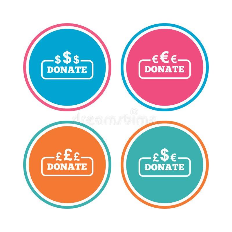 Doni i segni dei soldi Dollaro, euro e sterline illustrazione vettoriale