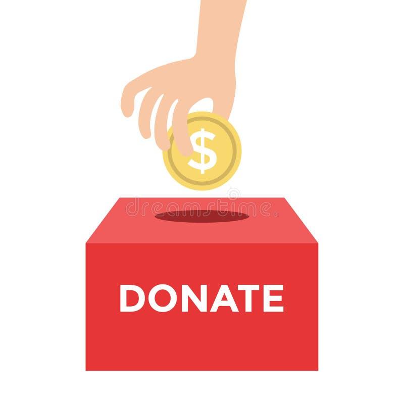 Doni i soldi al concetto della carità illustrazione di stock