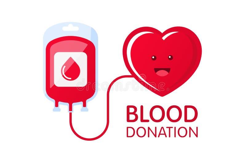 Doni il concetto del sangue con la borsa del sangue ed il carattere del cuore Illustrazione di vettore di donazione di sangue Gio illustrazione di stock