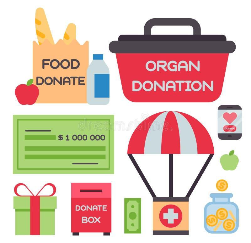 Doni il salvadanaio fissano i simboli aiutano il supporto di umanità della filantropia della carità di contributo di donazione de illustrazione di stock
