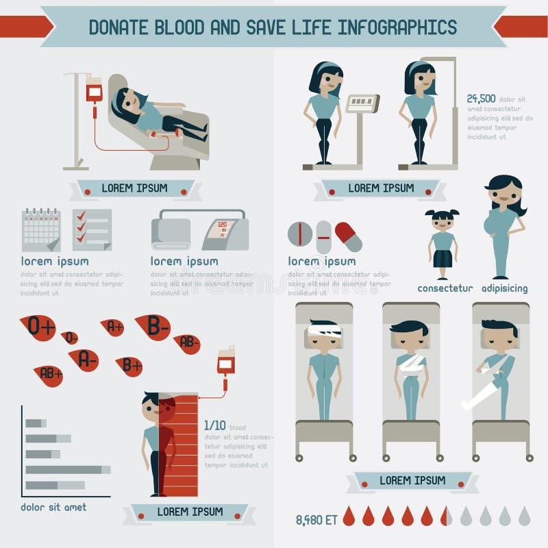 Doni il sangue e conservi i grafici di informazioni di vita illustrazione vettoriale