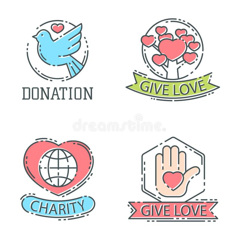 Doni il vettore stabilito di sostegno di umanità di simboli della filantropia della carità di contributo di donazione dell'icona  illustrazione di stock