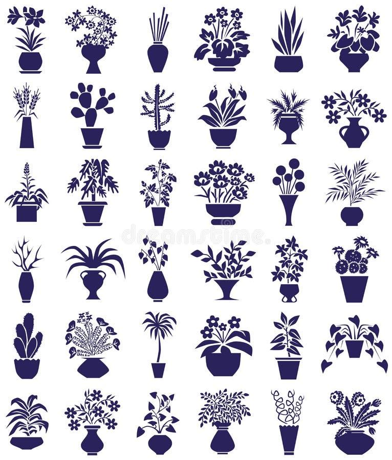 Doniczkowe kwiat ikony na bielu ilustracji