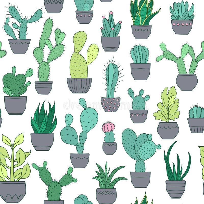 Doniczkowy kaktusowy sukulent zasadza bezszwowego wzór ilustracja wektor