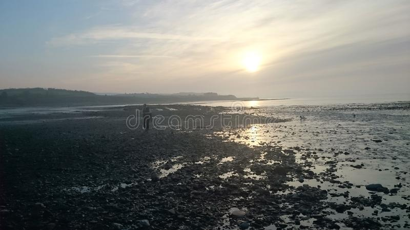 Doniford Beach in winter stock images