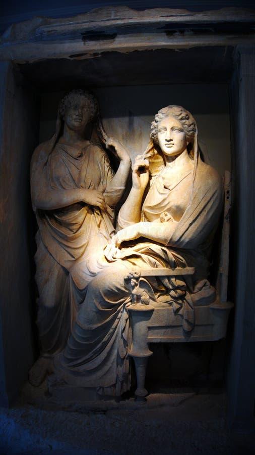 Doniosła stela Demetria i Pamphile Kerameikos, Ateny - Grecja - obraz stock