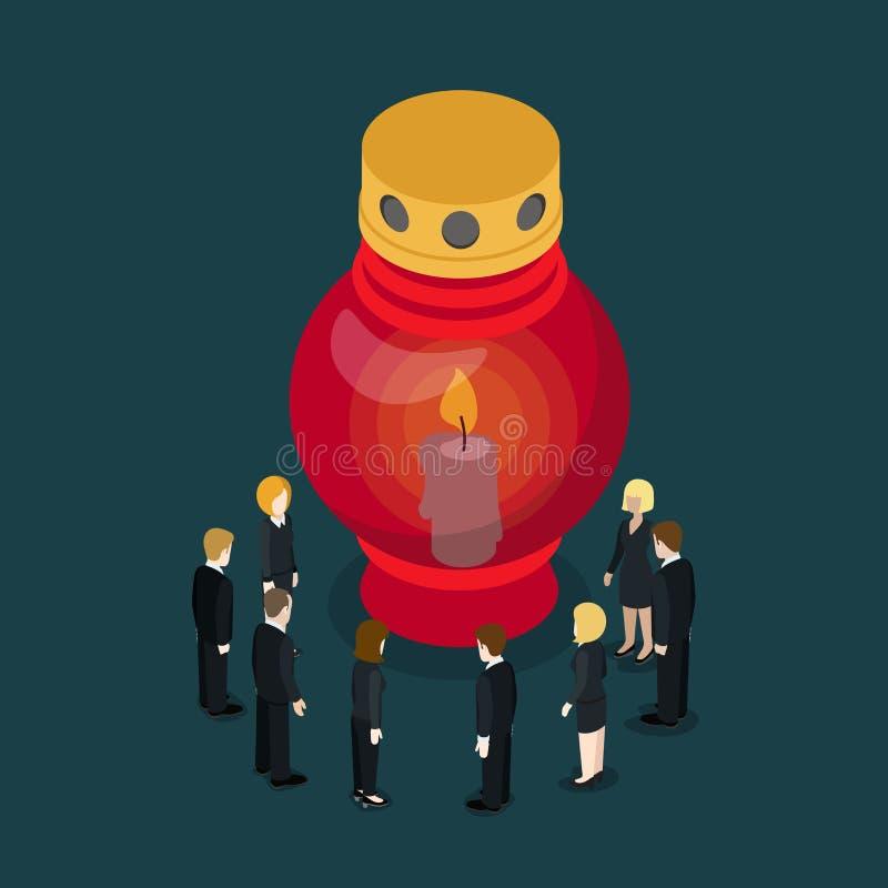 Doniosłego lampowego świeczki światła latarniowy stroskanie płaski wektorowy isometric 3d ilustracja wektor